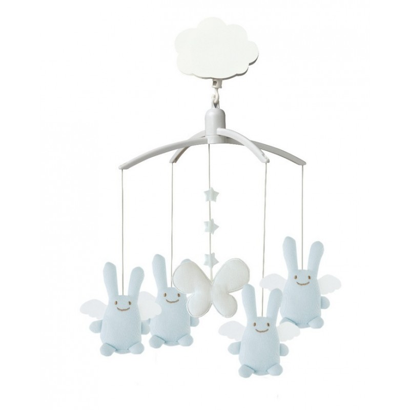 mobile musical ange lapin bleu ciel trousselier. Black Bedroom Furniture Sets. Home Design Ideas