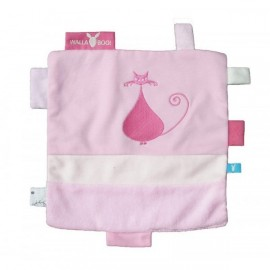Doudou Carré Etiquettes Rose Wallaboo