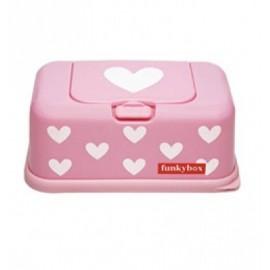 Funkybox Boites à lingettes Rose Coeur Blanc