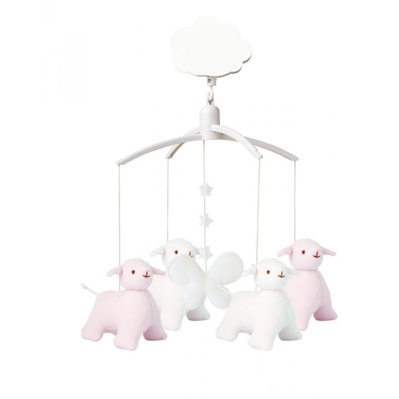 mobile musical mouton rose trousselier. Black Bedroom Furniture Sets. Home Design Ideas