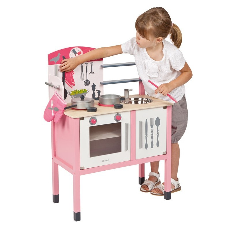 Maxi cuisine mademoiselle janod cuisine enfant en bois for Cuisine fille
