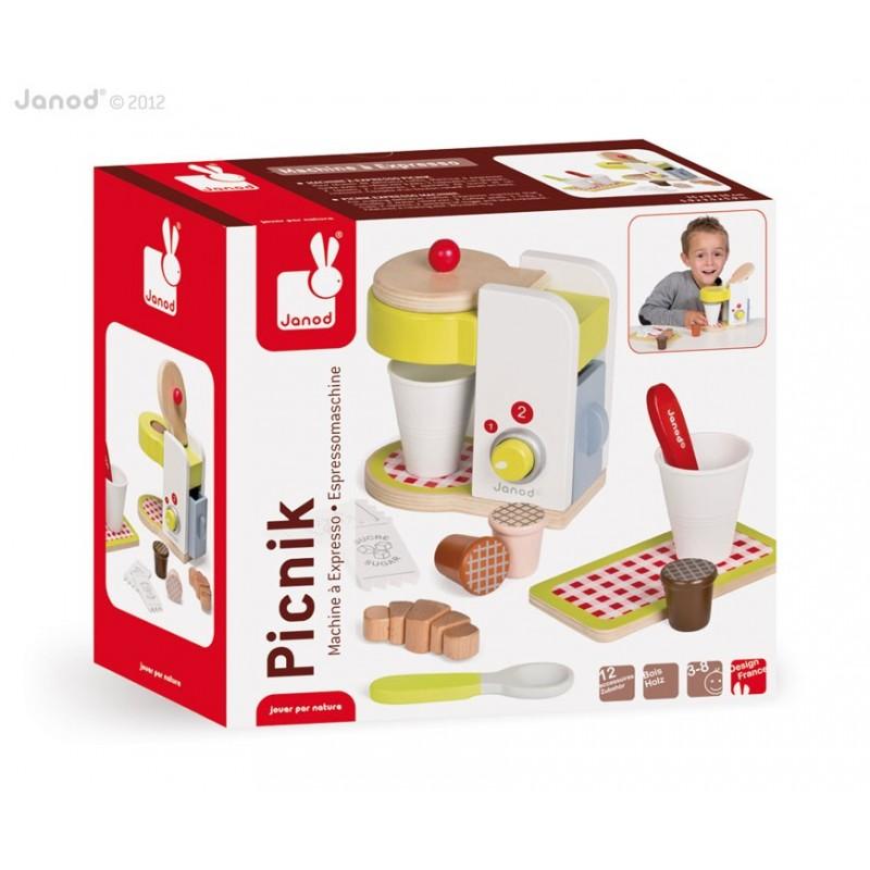 Machine à expresso Picnik Janod : jouet d'imitation en bois Janod