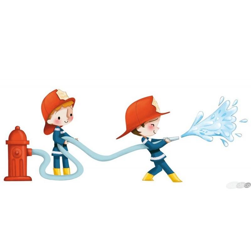 Sticker de pompiers arroseurs - Chambre enfant pompier ...
