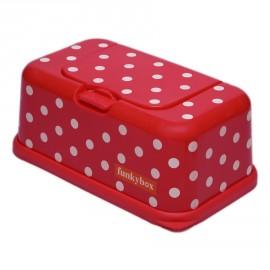Funkybox Boites à lingettes Rouge à Pois Blanc