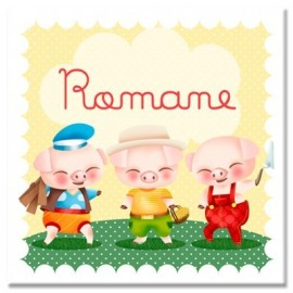 Tableau personnalisable Les trois petits cochons