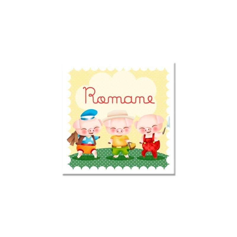 Tableau personnalisable enfant les trois petits cochons - Tableau enfant personnalisable ...