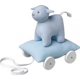 Mouton sur coussin à roulettes Bleu ciel par Trousselier