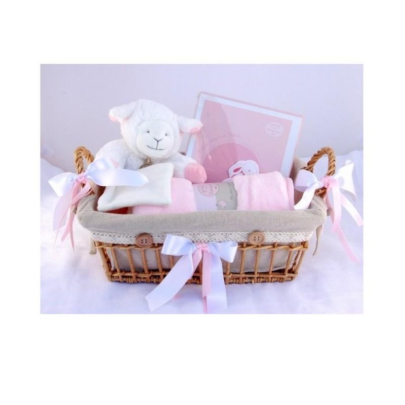 Panier Cadeau Naissance Montreal : Panier de naissance fille agneau rose personnalis? au