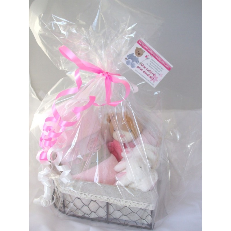 Panier Cadeau Naissance Montreal : Cadeau de naissance panier ours framboise personnalisable