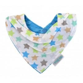 Bavoir de dentition bandana réversible (coton) Bleu