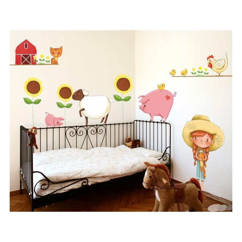 stickers petite fille la ferme emmanuelle colin. Black Bedroom Furniture Sets. Home Design Ideas