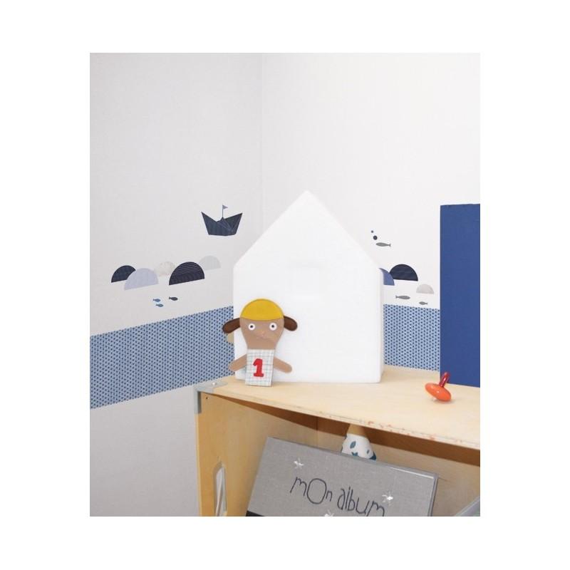 Frise adh sive bleu d 39 toiles lilipinso - Frise adhesive chambre bebe ...