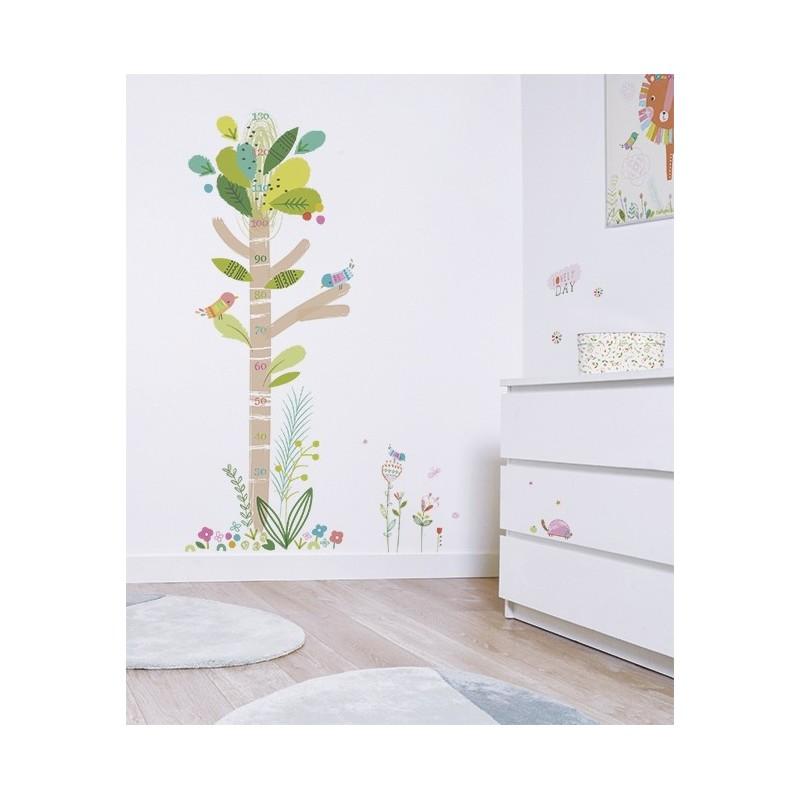 Toise adh sive arbre et oiseaux lilipinso for Toise chambre bebe