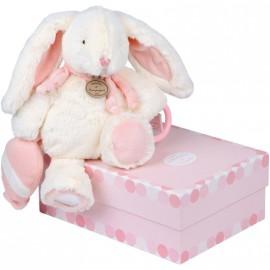 Peluche pantin d'activités Lapin bonbon rose Doudou et Compagnie