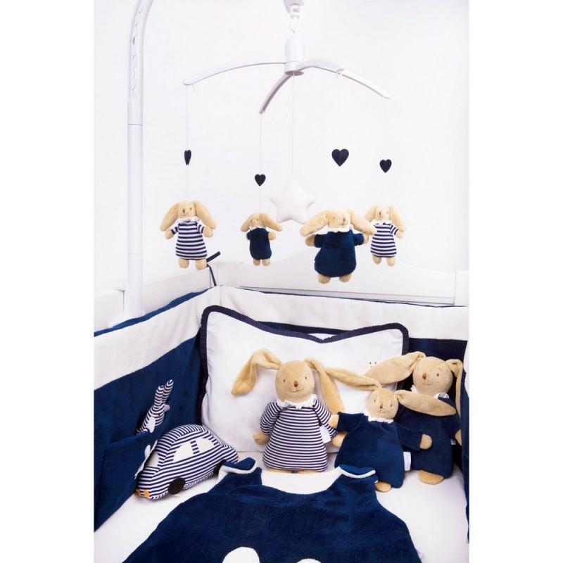 tour de lit b b ange lapin bleu marine trousselier. Black Bedroom Furniture Sets. Home Design Ideas