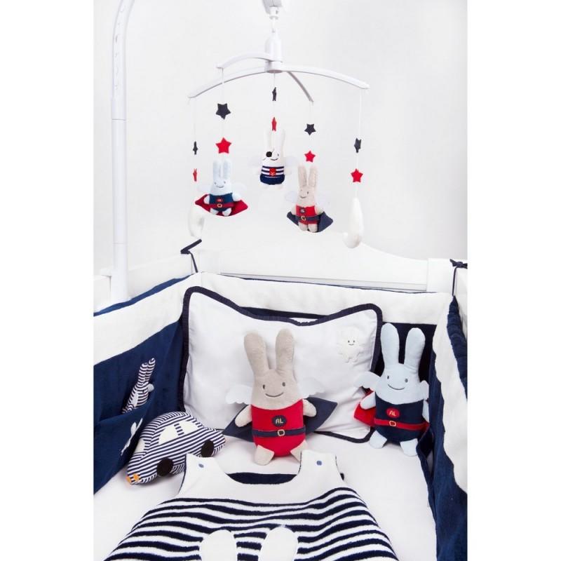 Tour de lit b b ange lapin bleu marine trousselier - Mobile musical maison du monde ...
