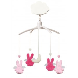 Mobile musical ange lapin fushsia rose Trousselier