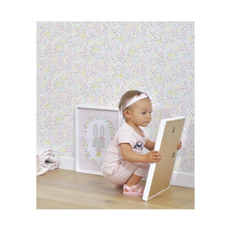 l de papier peint enfant fleurs et oiseaux lilipinso. Black Bedroom Furniture Sets. Home Design Ideas