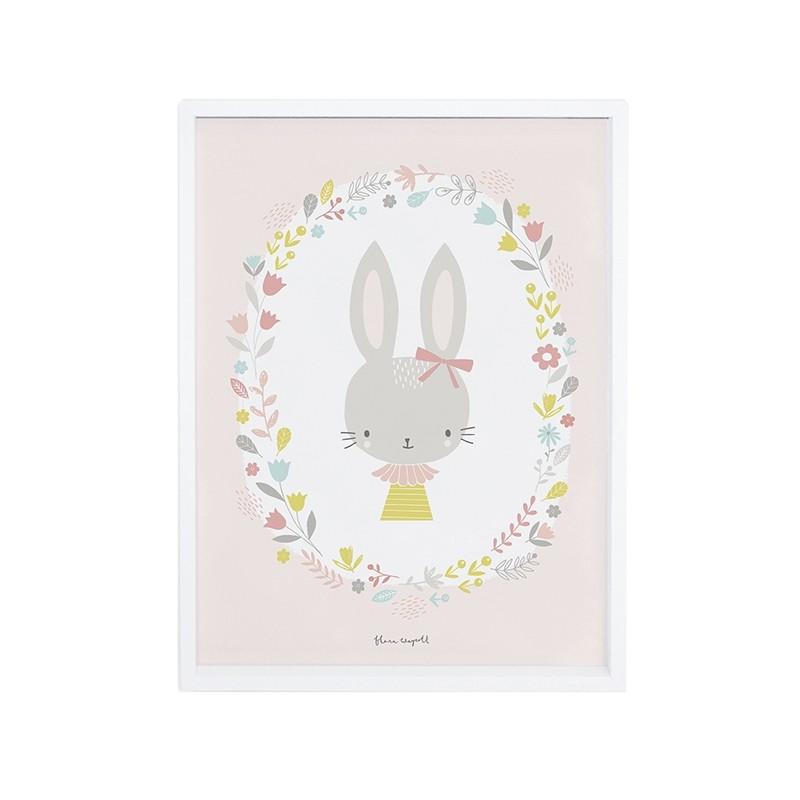 affiche decorative lapin fille pour decorer une chambre d With affiche chambre bébé avec montre femme a fleur