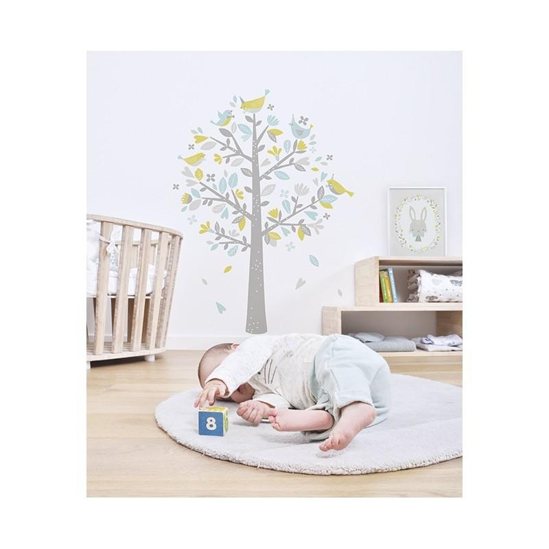 Sticker Arbre Oiseaux Bleu Et Vert Lilipinso Pour Chambre