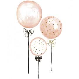 Stickers Ballons roses à pois dorés Lilipinso