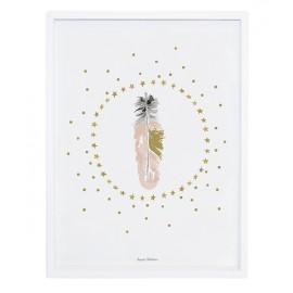Affiche avec cadre Plumes et étoiles Lilipinso