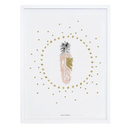 Affiche chambre d\'enfant Plumes et étoiles Lilipinso