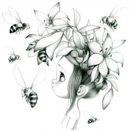 Tableau Wild girl 09 (noir et blanc)