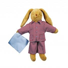 Lapin Grand Modèle (34cm) Pyjama à Rayures par Trousselier