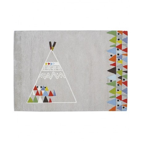 Tapis enfant indien teepee coton grand format lilipinso for Tapis chambre bebe garcon