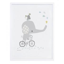 Affiche avec cadre éléphant sur son vélo