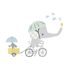 Sticker Eléphant fait du vélo