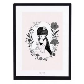Affiche avec cadre princesse et fleurs Lilipinso