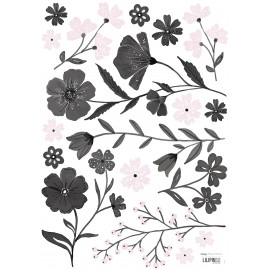 Stickers fleurs noires et roses Lilipinso