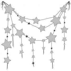 Stickers guirlandes étoiles grises