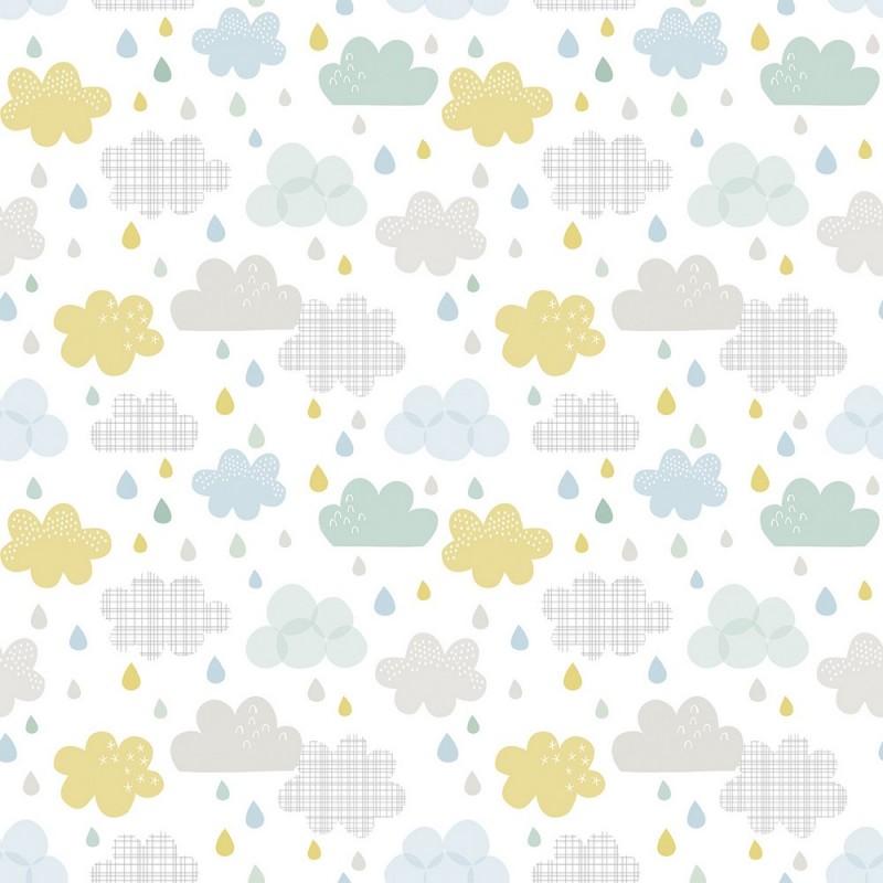 papier peint enfant gouttes et nuages lilipinso. Black Bedroom Furniture Sets. Home Design Ideas