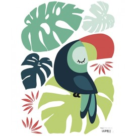 Sticker feuille monstera et toucan Lilipinso