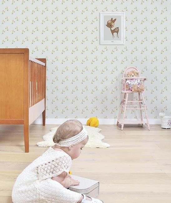 Affiche chambre d 39 enfant faon et fleurs lilipinso - Papier peint enfant vintage ...