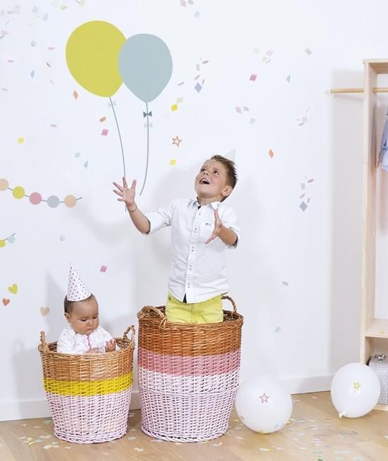 stickers muraux enfants ballons g ants bleu et jaune lilipinso. Black Bedroom Furniture Sets. Home Design Ideas