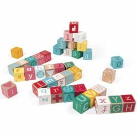 Kubix 40 cubes lettres et chiffres Janod