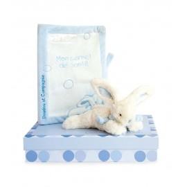 Protège carnet de santé et lapin bonbon bleu Doudou et Compagnie