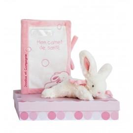 Protège carnet de santé et lapin bonbon rose Doudou & Compagnie