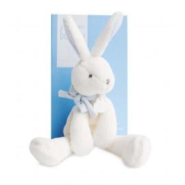 Peluche lapin chic J'aime mon doudou bleu Doudou & Compagnie