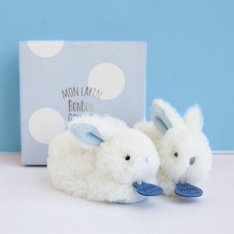 Coffret naissance chaussons bleu lapin bonbon Doudou et Compagnie