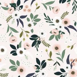 Papier peint fleurs fond rose pâle Lilipinso