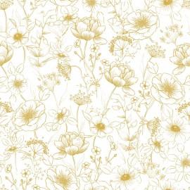 Papier peint fleurs ocres Lilipinso