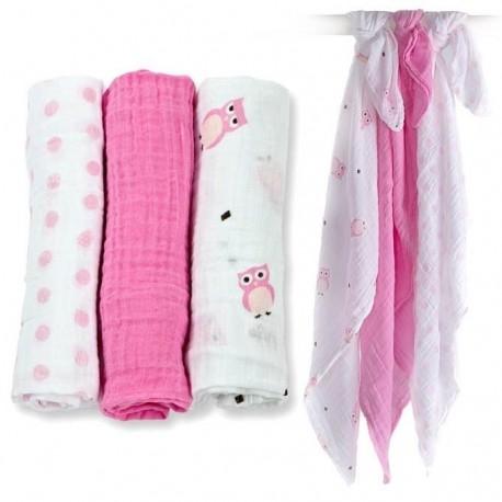 Lot de 3 langes mousseline de coton chouettes roses Lulujo
