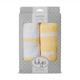 Lot de 2 langes Rayures jaunes coton Lulujo