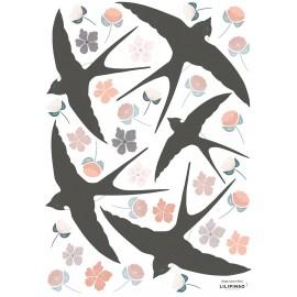 Stickers Fleurs et Hirondelles Lilipinso