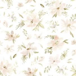 Papier peint Aquarelle grandes fleurs roses et orangées Lilipinso